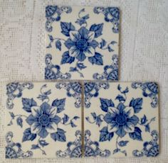 Reclaimed Victorian Blue and White Floral Tiles - ebay