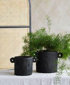 Black Cement Handled Plant Pot