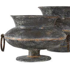 Antiqued Galvanised Decorative Planter - Set of Two